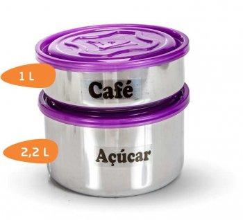 Conj. Café/Açúcar Alumínio com tampa de plástico