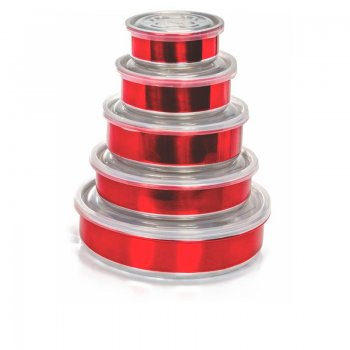 Jogo Topa Tudo Alumínio Color com tampa plástica - 5 pçs