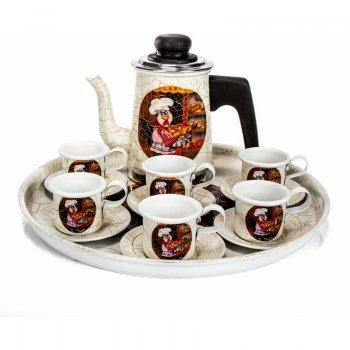 Jogo Coffee de Alumínio Craquelado c/ decoupagem 8 pçs