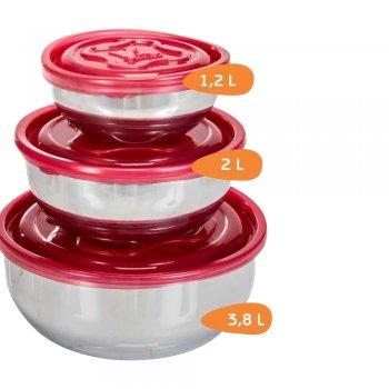Jogo Saladeira Alumínio com tampa de plástica - 3 pçs