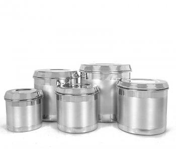 Jogo Porta Mantimentos alumínio escovado 5 pçs